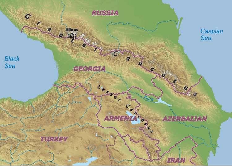 Caucasus Mountains Map